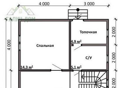 Картинка (5) Планировка 1-го этажа дома из бруса 7 на 12 с мансардой (ДБ-15)