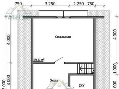 Картинка (6) Планировка 2-го этажа дома из бруса 7 на 12 с мансардой (ДБ-15)