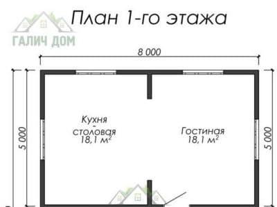 Картинка (5) Планировка 1-го этажа дома (ДБ-16)