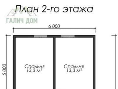 Картинка (6) Планировка 2-го этажа дома (ДБ-16)