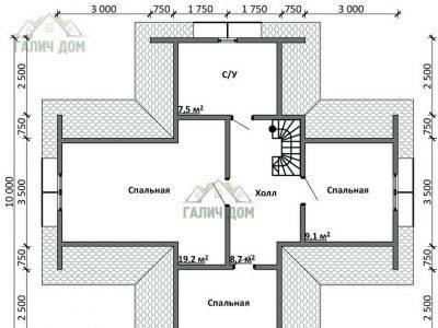 Картинка (6) Планировка 2-го этажа дома (ДБ-17)