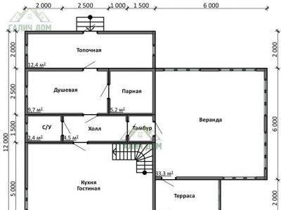 Картинка (5) Планировка 1-го этажа дома из бруса 12х13 с мансардой (ДБ-20)