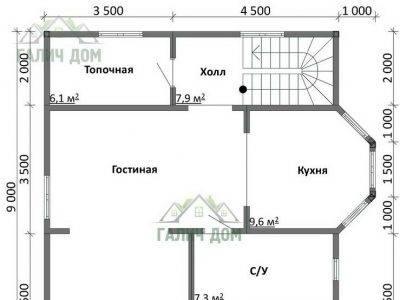 Картинка (5) Планировка 1-го этажа дома (ДБ-108)