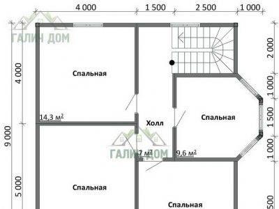 Картинка (6) Планировка 2-го этажа дома (ДБ-108)