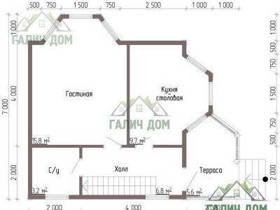 Картинка (5) Планировка 1-го этажа дачного дом из бруса 8х7 (ДБ-41)