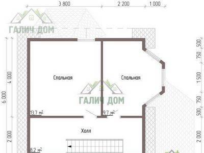 Картинка (6) Планировка 2-го этажа дачного дом из бруса 8х7 (ДБ-41)