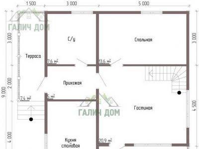 Картинка (5) Планировка 1-го этажа дачного дома из бруса 8х9 (ДБ-44)