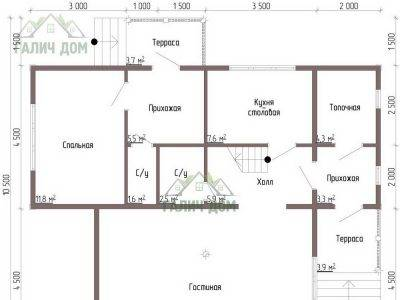 Картинка (5) Планировка 1-го этажа дома из бруса 9х11 (ДБ-45)