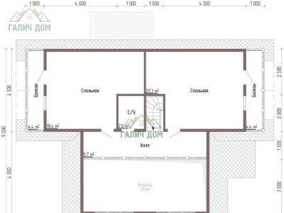 Картинка (6) Планировка 2-го этажа дома из бруса 9х11 (ДБ-45)