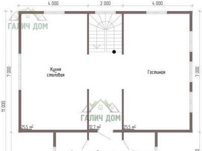 Картинка (5) Планировка 1-го этажа дома из бруса 10х11 (ДБ-46)