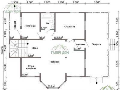 Картинка (5) Планировка 1-го этажа дома из бруса 9х13 (ДБ-47)