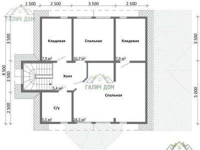 Картинка (6) Планировка 2-го этажа дома из бруса 9х13 (ДБ-47)