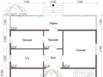 Картинка (5) Планировка 1-го этажа дома из бруса 8х12 (ДБ-48)