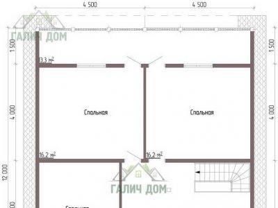Картинка (6) Планировка 2-го этажа дома из бруса 8х12 (ДБ-48)