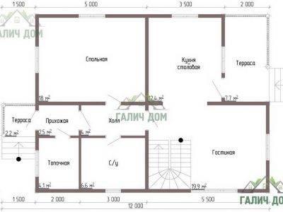 Картинка (5) Планировка 1-го этажа брусового дома 9х10 (ДБ-50)