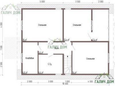 Картинка (6) Планировка 2-го этажа брусового дома 9х10 (ДБ-50)