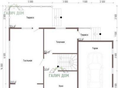 Картинка (5) Планировка 1-го этажа дома из бруса 12х13 (ДБ-51)