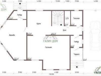 Картинка (5) Планировка 1-го этажа дома из бруса 9 на 13 (ДБ-52)