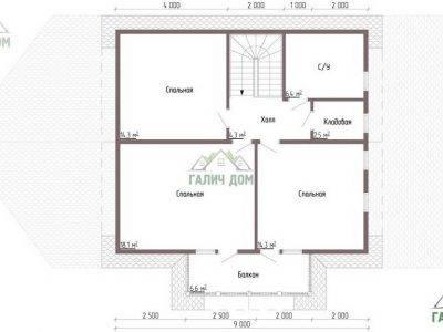 Картинка (6) Планировка 2-го этажа дома из бруса 9 на 13 (ДБ-52)