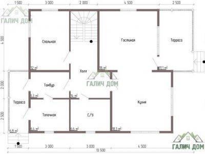 Картинка (5) Планировка 1-го этажа дома из бруса 9 на 10 (ДБ-53)
