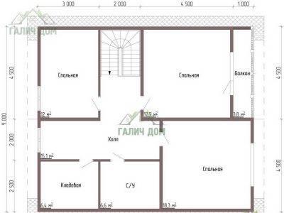 Картинка (6) Планировка 2-го этажа дома из бруса 9 на 10 (ДБ-53)