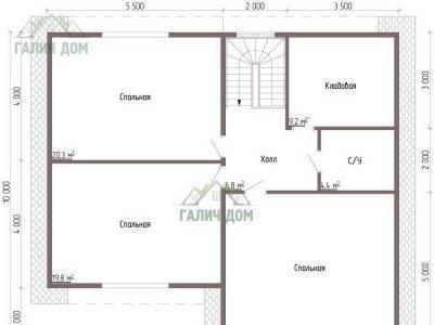Картинка (6) Планировка 2-го этажа дома из бруса 9 на 10 (ДБ-54)