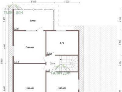 Картинка (6) Планировка 2-го этажа дома из бруса 12 на 13 (ДБ-55)