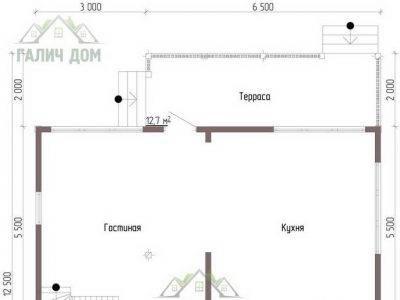 Картинка (5) Планировка 1-го этажа дома из бруса 9х12 (ДБ-56)