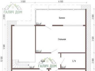 Картинка (6) Планировка 2-го этажа дома из бруса 9х12 (ДБ-56)