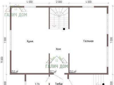 Картинка (5) Планировка 1-го этажа дома 10х10 (ДБ-57)