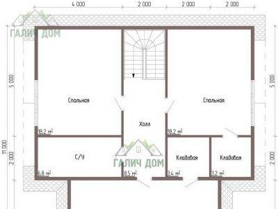Картинка (6) Планировка 2-го этажа дома 10х10 (ДБ-57)