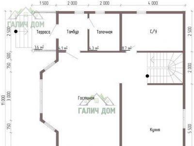 Картинка (5) Планировка 1-го этажа сруба дома 9х10 (ДБ-58)