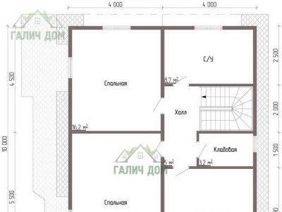 Картинка (6) Планировка 2-го этажа сруба дома 9х10 (ДБ-58)