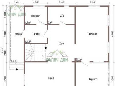 Картинка (5) Планировка 1-го этажа дома из бруса 9х9 (ДБ-59)
