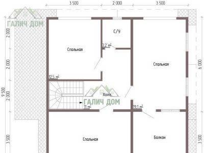 Картинка (6) Планировка 2-го этажа дома из бруса 9х9 (ДБ-59)