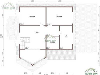 Картинка (7) Планировка 2-го этажа дома 11 на 11 (ДБ-60)