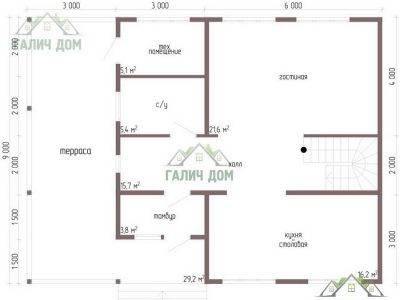 Картинка (5) Планировка 1-го этажа дома 9х12 (ДБ-61)
