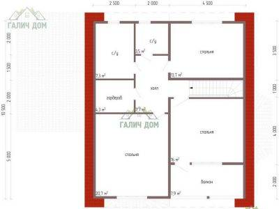 Картинка (6) Планировка 2-го этажа дома 10 на 13 (ДБ-62)