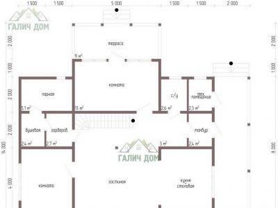Картинка (5) Планировка 1-го этажа дома 11 на 9 (ДБ-63)