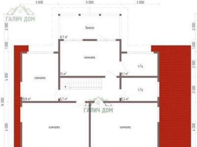 Картинка (6) Планировка 2-го этажа дома 11 на 9 (ДБ-63)