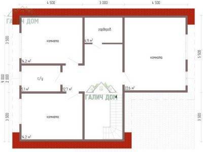 Картинка (6) Планировка 2-го этажа дома 10х13 (ДБ-64)