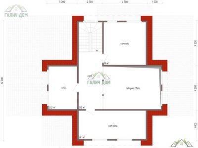 Картинка (6) Планировка 2-го этажа дома 13 на 15 (ДБ-65)