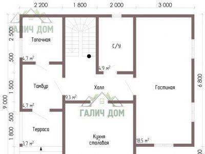 Картинка (5) Планировка 1-го этажа дома из бруса 9х9 (ДБ-67)
