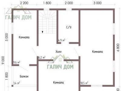 Картинка (6) Планировка 2-го этажа дома из бруса 9х9 (ДБ-67)