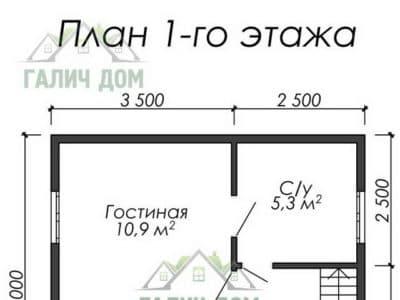 Картинка (5) Планировка 1 этажа дома (ДБ-7)