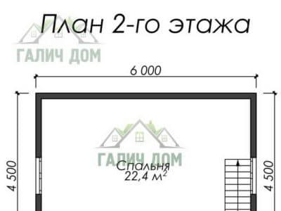 Картинка (6) Планировка 2 этажа дома (ДБ-7)