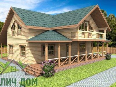Картинка (4) Дом из бруса 12х12 с балконом (ДБ-74)