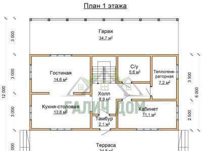 Картинка (5) Планировка 1-го этажа дома 12х12 (ДБ-74)