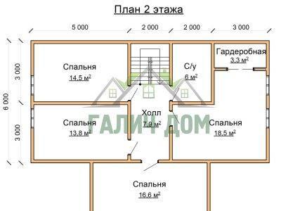Картинка (6) Планировка 2-го этажа дома 12х12 (ДБ-74)
