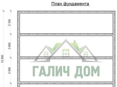 Картинка (7) План фундамента дома 12х12 (ДБ-74)